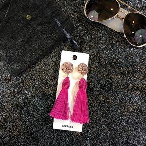 Express pink tassel earrings